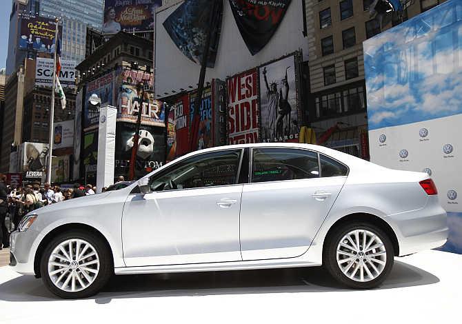 Volkswagen Jetta on display in New York.