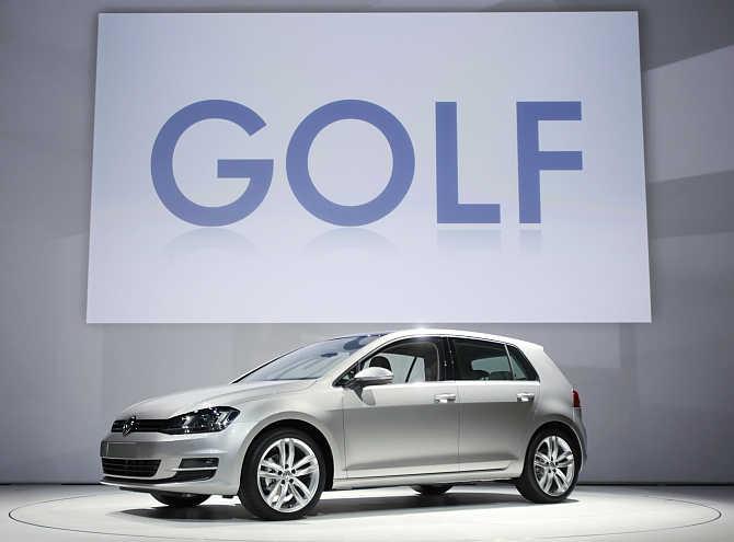 Volkswagen Golf on display in New York.
