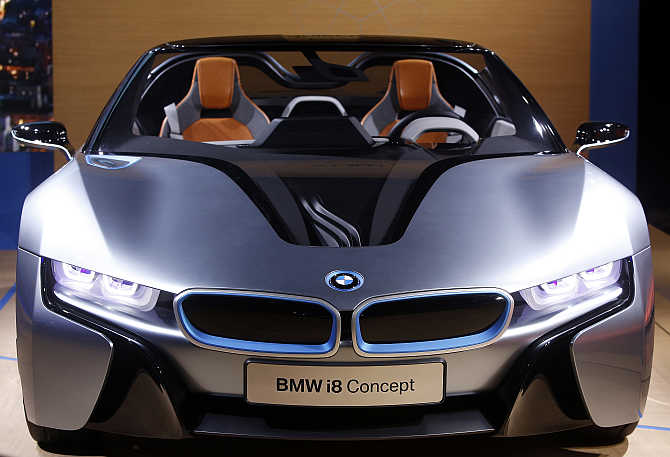 BMW i8 Concept Spyder hybrid gas/electric car on displ