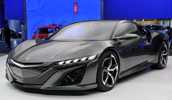 Acura NSX concept vehicle on display in Detroit, Michigan.