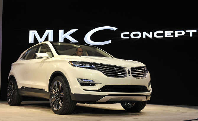 Lincoln MKC Concept crossover vehicle on display in Detroit, Michigan.