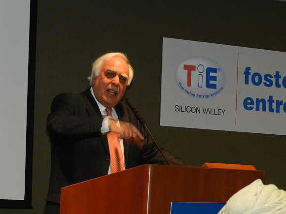 Kapil Sibal at a TiE Silicon Valley event in California.