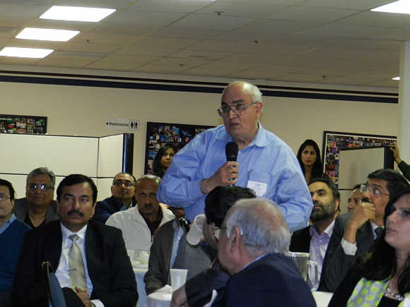 Kanwal Rekhi, Managing Director, Inventus Capital Partners, asks a question to Kapil Sibal at the TiE event in Silicon Valley in California.