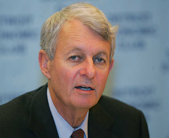 Former Chairman and Ceo Hank McKinnell, Pfizer, in Livonia, Michigan.