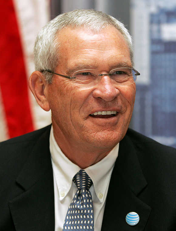Former Chairman and CEO of AT&T Edward E Whitacre in Detroit, Michigan.