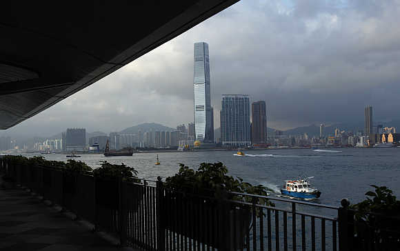 A view of the International Commerce Centre in Hong Kong.