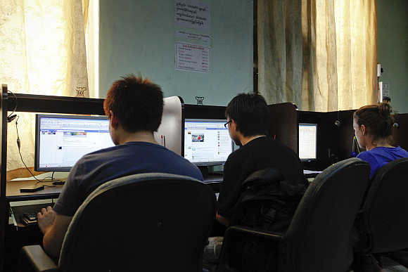 An Internet cafe in Yangon, Myanmar.