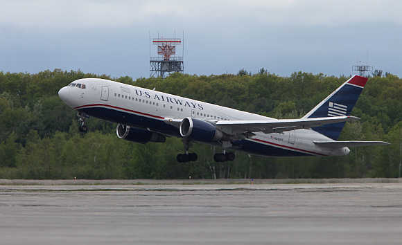 A US Airways flight takes off from Bangor Airport in Maine, United States.