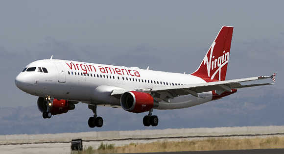 A Virgin America flight lands in San Francisco, California, United States.