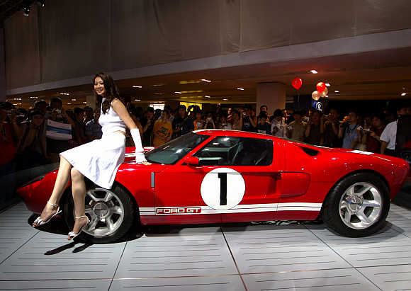 A model poses with a Ford GT sports car in Beijing. Photo is for representation purpose only.