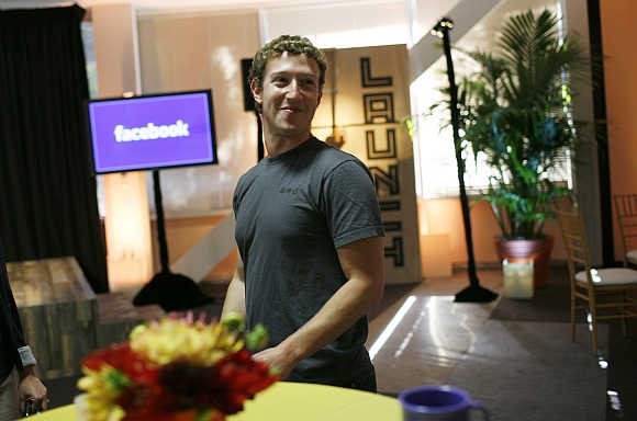 Mark Zuckerberg at Facebook headquarters in Palo Alto, California.