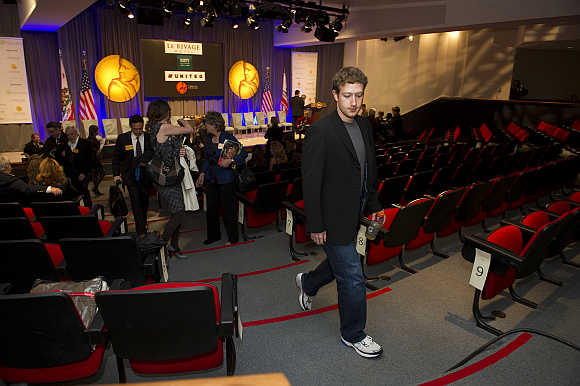 Mark Zuckerberg leaves a rehearsal for the California Hall of Fame induction ceremony in Sacramento California.