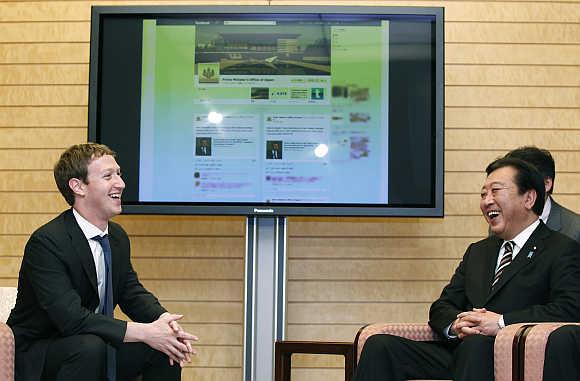 Mark Zuckerberg with Japan's then-prime minister Yoshihiko Noda in Tokyo.
