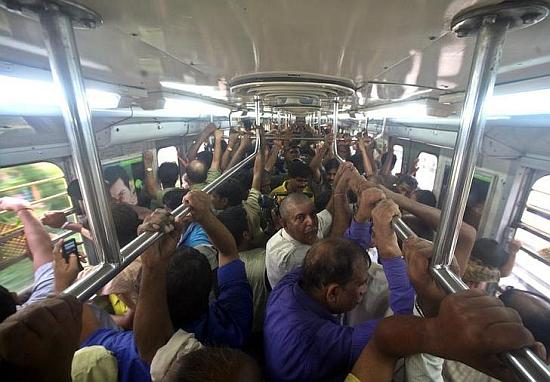Passengers travel in Kolkata metro.
