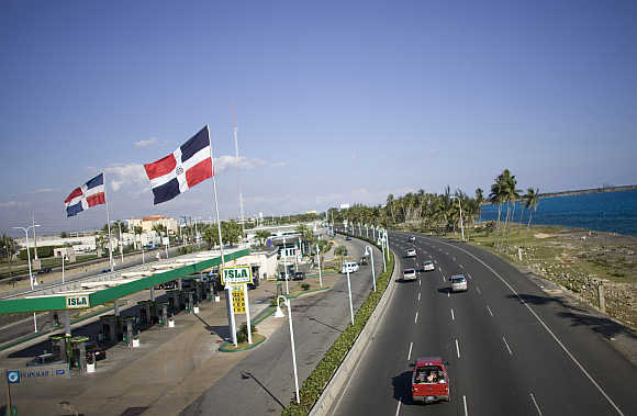 A highway next to a petrol pump in Santo Domingo, the Dominican Republic.