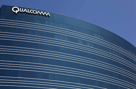 A view of one of Qualcomm's many buildings in San Diego, California.