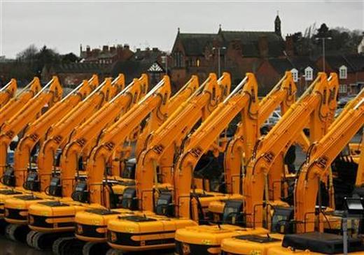 Parked JCB construction equipment.