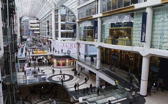 Toronto's Eaton Centre, a shopping mall.