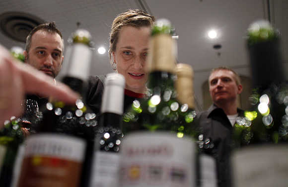 Visitors are introduced to different kinds of Spanish wines at the New York Wine Expo.
