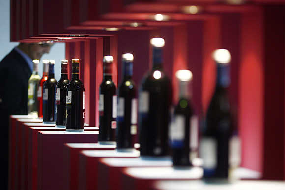 Bottles of wine are displayed at the Alimentaria trade show in Barcelona.