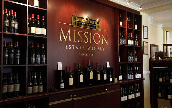 Bottles of wine are displayed at the Mission Estate Winery in Napier, New Zealand.