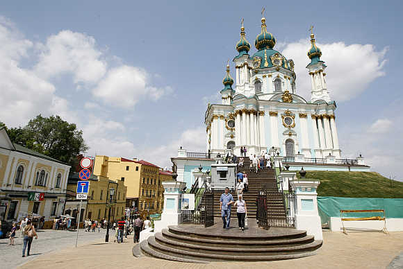 A view of Saint Andrew's or Andreevskaya Church in Kiev.