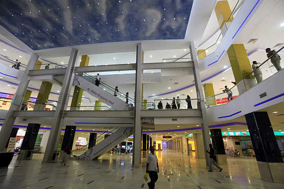 Shoppers at Khartoum's Al-Waha mall.