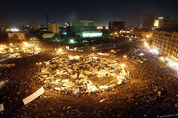 Anti-government protesters in Cairo's Tahrir Square, Egypt.