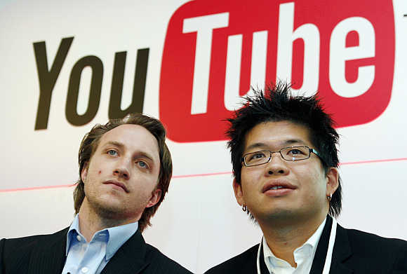 Chad Hurley, left, and Steve Chen, right, co-founders of YouTube in Paris, France.