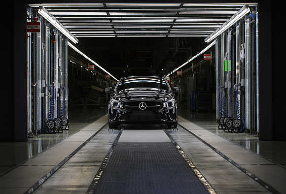 Four-door Mercedes Benz coupe CLA model rolls off the assembly line in the central Hungarian town of Kecskemet, 90km south of Budapest.