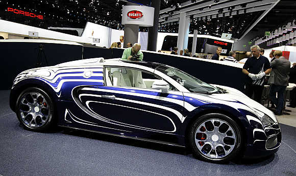 Bugatti Veyron L'Or Blanc at the International Motor Show in Frankfurt, Germany.