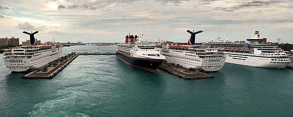 Cruise ships in Nassau Harbour, Bahamas.