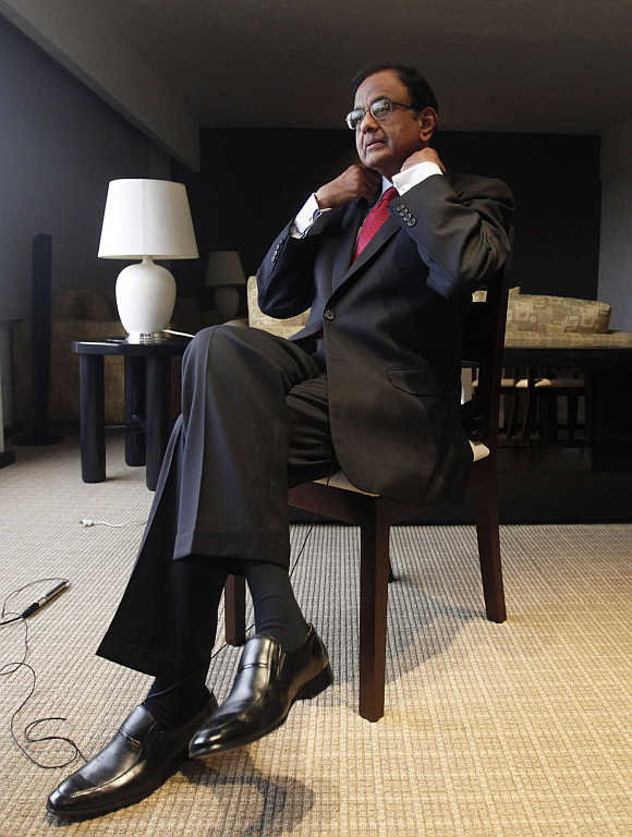 India's Finance Minister P Chidambaram prepares for an interview with Reuters in Mexico City, Mexico.