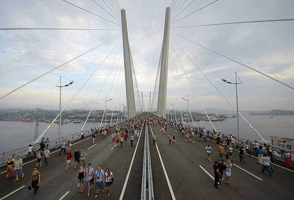 A view of a bridge across the Golden Horn bay in Vladivostok, Russia.