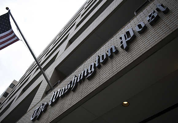 A view of the exterior of The Washington Post Company headquarters in Washington, DC.