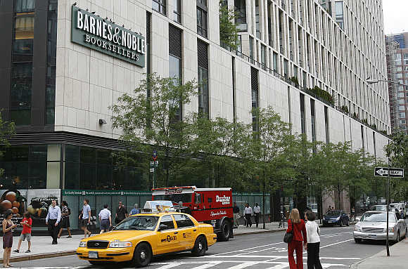 Barnes and Noble bookstore on the corner of Warren and Greenwich street in New York.