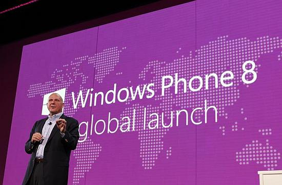 Microsoft CEO Steve Ballmer speaks during the launch of Windows Phone 8 in San Francisco, California.