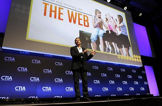Mozilla Corporation CEO Gary Kovacs addresses attendees during the International CTIA WIRELESS Conference & Exposition.