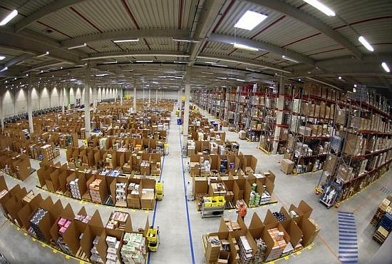 Work is carried out at Amazon's logistics centre in Graben near Augsburg.