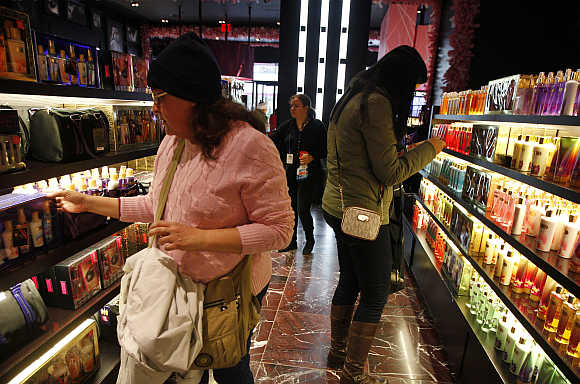 Shoppers browse the aisles of the Victoria's Secret flagship store in New York.