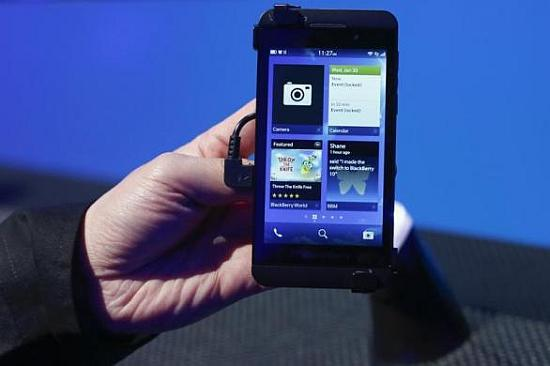 The touch-screen BlackBerry Z10 phone.