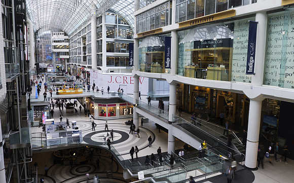 A view of Toronto Eaton Centre, a shopping mall.
