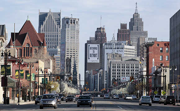 A view of Downtown Detroit along Woodward Avenue in Detroit, Michigan.
