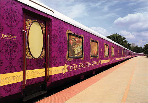 A view of the Golden Chariot, a luxury train.