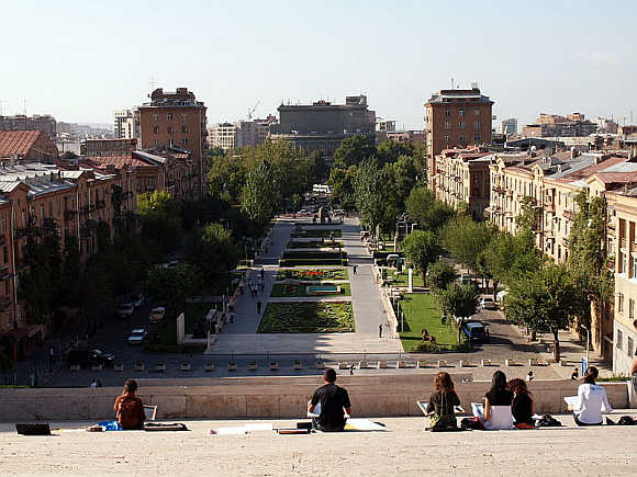 A view from the Cafesjian Museum of Art at the Cascade in Yerevan.