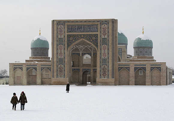A snow covered Khast Imam Square in Tashkent.