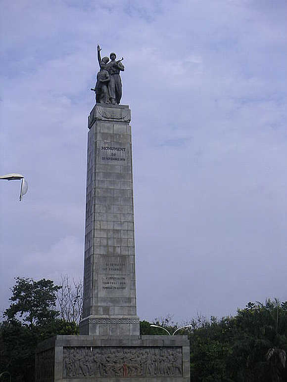 A monument marking the 1970 victory over the Portuguese invasion in Conakry, Guinea.