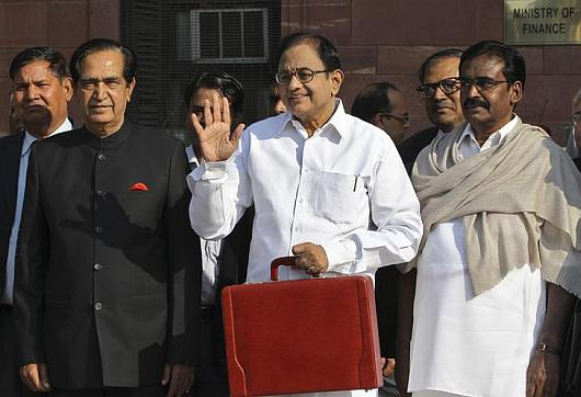Finance Minister P Chidambaram poses for photo before Budget speech.