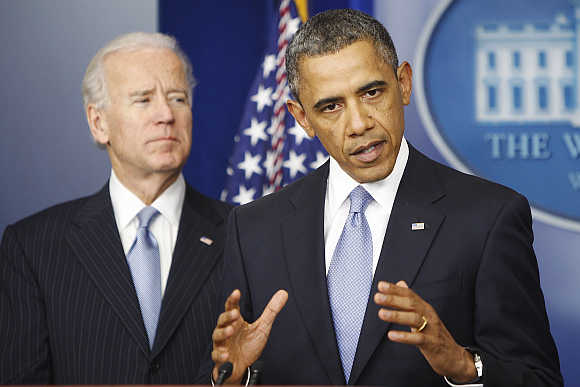 President Barack Obama with Vice-President Joe Biden at the White House in Washington, DC.
