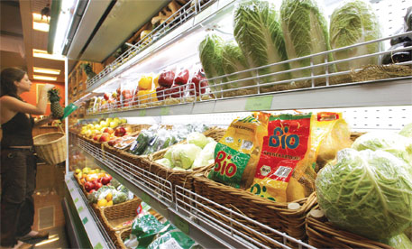A supermarket in Moscow. Label of GM-free food is seen in the foreground.